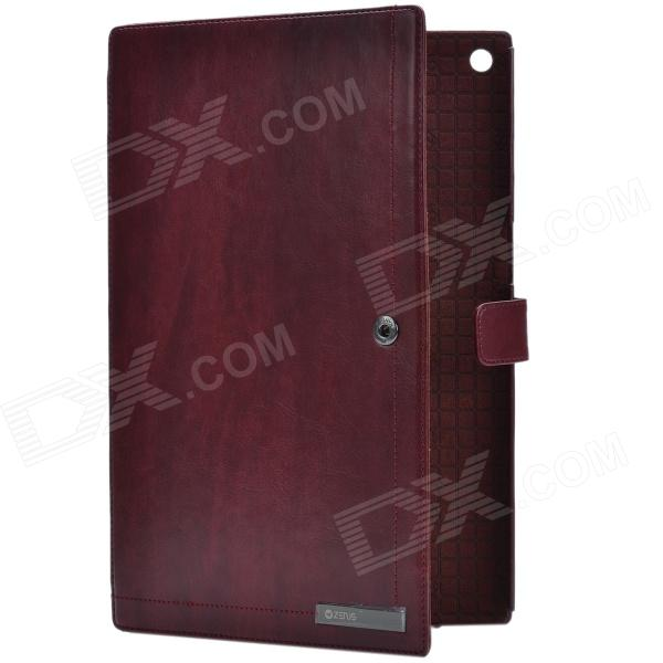 Zenus Business Style Protective Genuine Leather Case Cover Stand for Sony Xperia Tablet Z - Wine Red набор с торцевыми головками и битами force f 4601 5