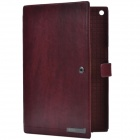 Zenus Business Style Protective Genuine Leather Case Cover Stand for Sony Xperia Tablet Z - Wine Red