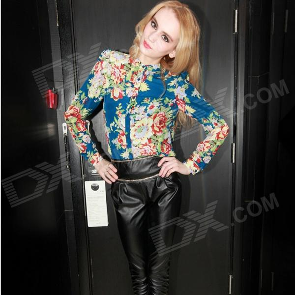 JM1454 Fashionable Chiffon Blouse Shirt - Blue (Free Size)