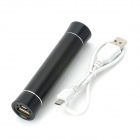 "Mini Cylinder Shaped ""2600mAh"" Mobile Power Bank - Black"