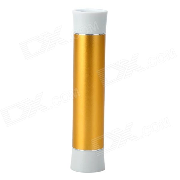"26AB Cylinder Shaped ""2600mAh"" Mobile Power Bank - Golden + White"