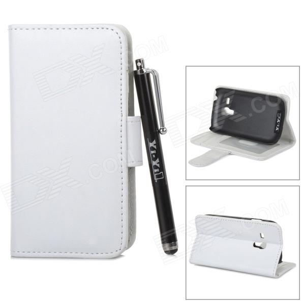 Protective PU Leather Case Cover Stand w/ Card Slot / Stylus for Samsung Galaxy S3 Mini i8190 -White lichee pattern protective pu leather case stand w card slot for samsung galaxy s3 i9300 black