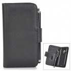 Protective Lambskin Case w/ Card Holder Slots / Stylus Pen for Samsung Galaxy S3 Mini i8190 - Black