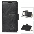 "Universal Suction Cup PU Leather Case Cover Stand for 3.5""~4.0"" Cellphone - Black + White"