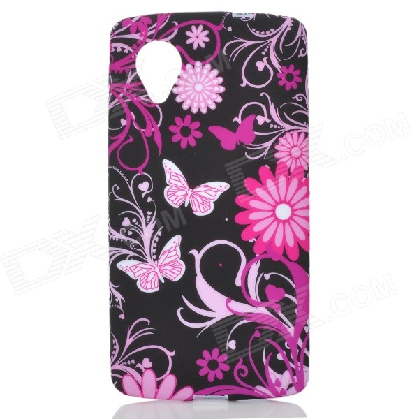 Butterfly Pattern Protective Silicone Case for Google Nexus 5 - Black + Purple protective silicone case for nds black