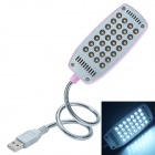 S-628 28-LED USB Eye-Protection Lamp w/ Switch for Computer / Tablet PC - Silver + Pink