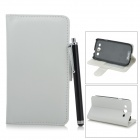 ENCHO Protective PU Leather Case Cover w/ Stylus for Samsung Galaxy S3 i9300 - White + Black