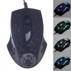 R8 1651 1800Dpi USB 2.0 Wired Cool Crack Light Game Mouse - Black (140cm-Cable)