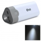 ENB Portable Power Bank Case w/ Flashlight for IPHONE 5 / 5S / 5C / 4 - White + Grey + Multicolored