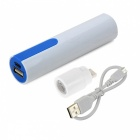 Universal 3.7V 18650 Power Bank Case w/ 1W USB Lamp Head for IPHONE / IPAD - White + Deep Blue