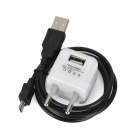 USB to Micro USB Data Charging Cable + EU Plug Power Adapter for Samsung - White + Black