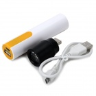 USB 3.7V 1000mAh 18650 Battery Power Bank Case w/ Lamp Head for IPHONE + More - White + Yellow