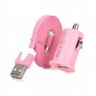 USB to Micro USB Charging Data Cable + Car Charger Adapter for Samsung / HTC - Pink