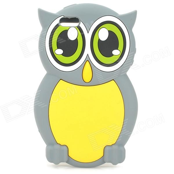 gel0192 Cute Owl Style Protective Silicone Back Case for IPHONE 5 - Grey + Yellow cute owl pattern tpu back case for iphone 6 plus 5 5 yellow orange multi color