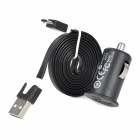 USB to Micro USB Charging Data Cable + Car Charger Adapter for Samsung / HTC - Black