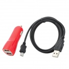 Dual USB Car Cigarette Lighter Charger + Micro USB Cable for Samsung / HTC + More - Red + Black