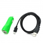 Dual USB Car Cigarette Lighter Charger + Micro USB Cable for Samsung / HTC + More - Green + Black