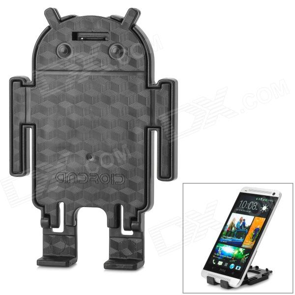 Android Robot Style Desktop Plastic Holder for Cell Phone - Black universal nylon cell phone holster blue black size l