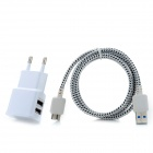 Dual USB AC Power Charger Adapter Micro USB 3.0 -Pin Cable for Samsung Galaxy Note 3 - White