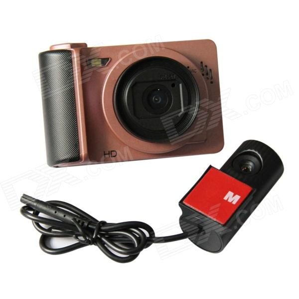 2.7 Screen TFT Double Wide Angle Camera Lens 5.0 MP CMOS Camcorder Car DVR - Black + Light Brown at200 1 5 tft screen 1 5 cmos 5 0mp wide angle sport camera dvr w remote control wi fi silver