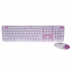 R8 1929 2.4G Wireless Ultra-Dünne Tastatur + 1000 dpi Wireless Mouse Set - Pink + White