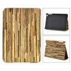 Wood Grain Style Protective PU + PC Auto Wake-up / Sleep Case w/ Stand for IPAD MINI 2 - Light Green