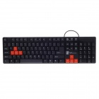 R8 KB-1800 Waterproof 104-Key Keyboard - Black + Orange (140cm-Cable)