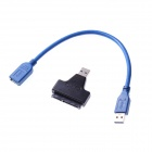 "USB 3.0 Male to SATA Female Adapter + USB 3.0 Male to Female Cable for 2.5"" Hard Disk - Black"