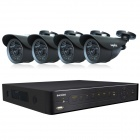 SANNCE P2P HDMI 4-CH H.264 DVR + 4x800TVL IR-CUT Bullet Day/Night Vision Camera CCTV Security System