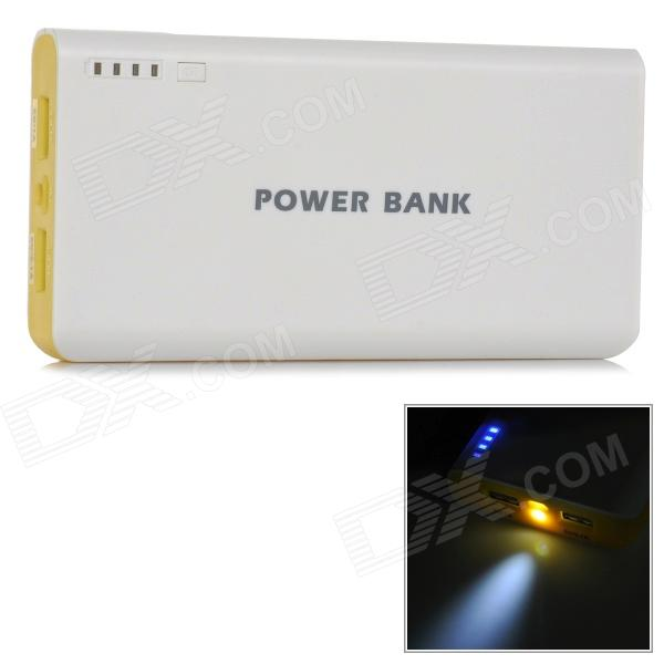 Dual USB 3.7V 20000mAh Li-ion Battery Power Bank for IPHONE / IPAD AIR + More - White + Yellow 36v 4400mah 4 4ah dynamic li ion lithium ion rechargeable battery for self balance electric scooters power bank