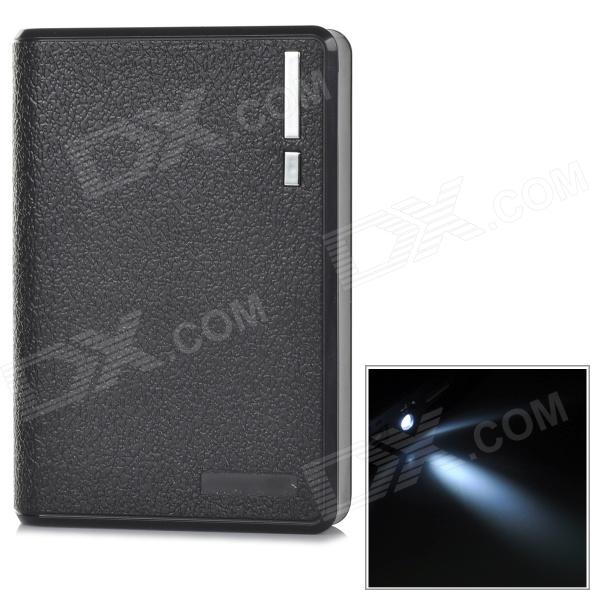 Portable 10000mAh Mobile Power Bank w/ Dual USB + LED Flashlight - Black portable 6000mah power bank w flashlight for mobile tablet pc more pink white