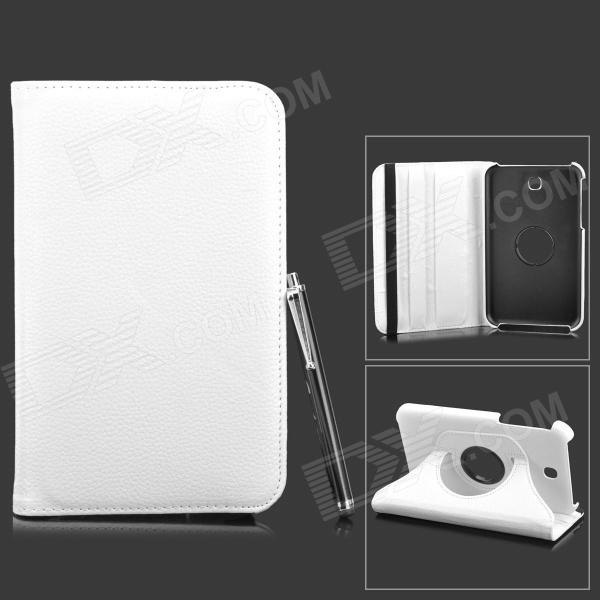 Protective PU Flip-Open Case w/ Stand + Stylus Pen for Samsung Galaxy Tab 3 7.0 T210 + More - White
