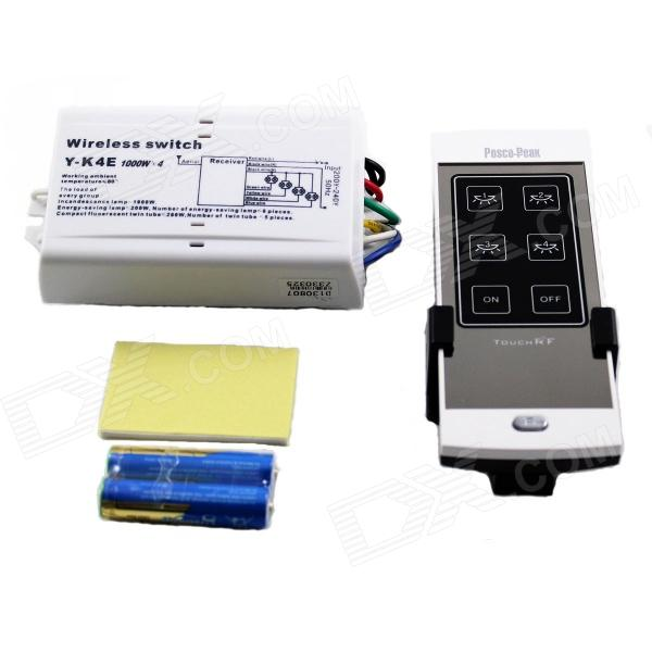 New Design Y-K4E 1000Wx4 Four Channel RF Pure Touch Remote Control Switch - Silver (200~240V)
