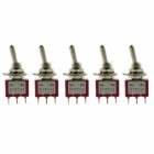 Jtron 3-pin Two Tranches Toggle Switch ON-ON - Red + Silver (5 PCS)