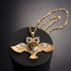 EQute SPEW21C3 Fashion Champagne Heart Body Owl Pendant Sweater Chain Neckalce 27""