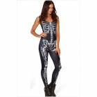 862086 Fashion Hauteng Skeleton Bodysuit - Schwarz + Weiß