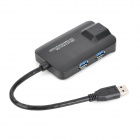 OT-5209 USB3.0 3-Port HUB w/ Gigabit Ethernet Adapter - Black