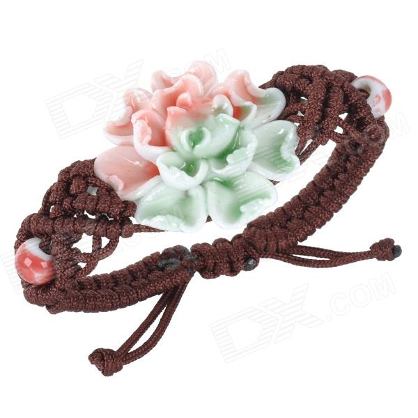 National Ceramic Peony Style Woven Bracelet - GoldenBracelets<br>Form  ColorGolden + Pink + Multi-ColoredQuantity1 DX.PCM.Model.AttributeModel.UnitMaterialCeramic + woven cordGenderWomenSuitable forAdultsBracelet Length16 DX.PCM.Model.AttributeModel.UnitBracelet Width3.6 DX.PCM.Model.AttributeModel.UnitPacking List1 x Bracelet<br>