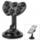 Apple Shape Silicone Suction Cup Desktop Stand for Tablet PC + Cell Phone + GPS - Black