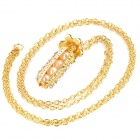 Shiny Crystal Inlaid Peasecod Pendant Zinc Alloy Necklace - Platinum
