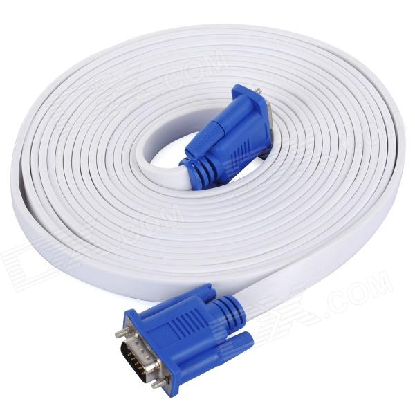 Фото 15 Pin VGA Male to Male Flat Video Connection Cable - White (5m) 10 pcs d sub vga db 15 pin male solder type connector socket 2 rows db15f male