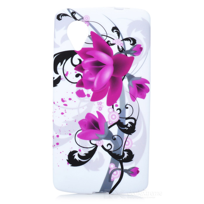 Flower Pattern Protective Silicone Case for Google Nexus 5 - Purple + Black