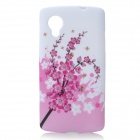 Plum Blossom Pattern Protective Silicone Case for Google Nexus 5 - White + Light Pink