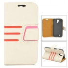 Stylish Protective PU Leather Case for Samsung Galaxy S4 i9500 - Beige + Red