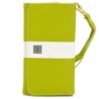 "Universal Protective PU Leather Case Cover w/ Card Slots for Cellphones within 4.7"" - Light Green"
