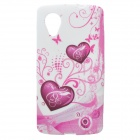 Heart Shaped Protective Silicone Case for Google Nexus 5 - White + Light Pink