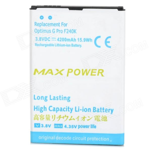 3.8V 4200mAh Battery for LG Optimus G Pro / F240K / F240S / F240L / LG E988 - White + Blue чехол для для мобильных телефонов dormancy leather ygfor lg optimus g pro e980 e988 e986 f240 for optimus g pro e980 e988 e986 f240