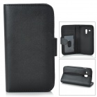 Protective PU Leather Case w/ Card Holder Slots for Samsung Galaxy S3 Mini i8190 - Black