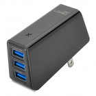 LDNIO 3-USB AC Power Charger Adapter for Cell Phone / Tablet PC + More - Black (US Plug / 100~240V)