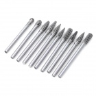 Durable 3 x 5mm Doble Grain YG8 archivo Rallador Tip Set - Plata (10 PCS)